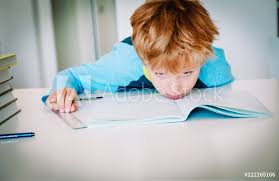 Print Home Work Photo Art Print Little Boy Exhausted Tired Of Doing Homework