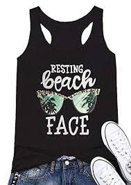 Mk Shop Limited Womens Resting Beach Face Sleeveless Funny Workout Tank Top T Shirt