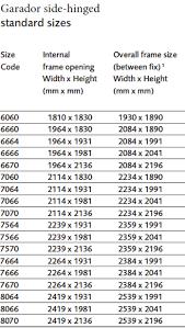 image of garador size chart