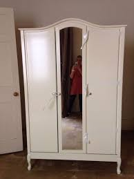 3 door mirrored french armoire wardrobe vintage style ivory colour