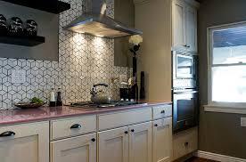 ... Eclectic Kitchen With Geometric Tile Backsplash From Heath Ceramics [ Design: Brunelleschi Construction]