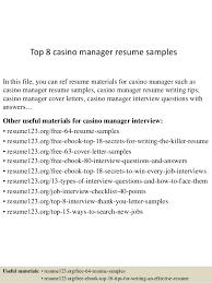 casino manager resumes top 8 casino manager resume samples
