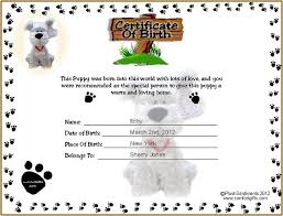 Printable Puppy Birth Certificate Template Tattoos Ideas For The