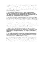 us history study resources 1 page any of these essay questions appear on the midterm exam