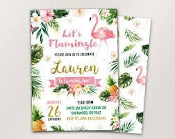 Tropical Party Invitations Flamingo Invitation Etsy