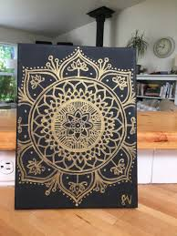 Black and Gold Mandala Canvas Painting Wall Art Wall Room Decor