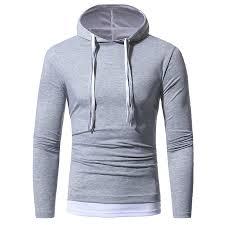 <b>Solid</b> Color <b>Double</b>-<b>layer</b> Cap <b>Men's</b> Casual Slim Long-sleeved T-shirt
