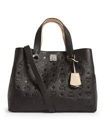 mcm essential monogram leather tote bag in black