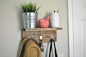 Distressed Wood Coat Rack With Shelf Extraordinary Distressed Entryway Shelf With Hooks Choose Size And Colors