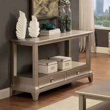 letitia hallway sofa console table stand 2 bottom drawers shelf wood in silver