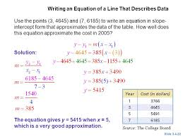 writing an equation of a line that describes data