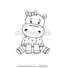 Hippopotamus Coloring Pages Outlined Cute Hippopotamus Coloring Page