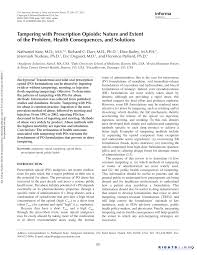 Pdf Tampering With Prescription Opioids Nature And Extent