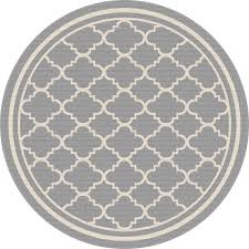 8 round gray moroccan tile indoor outdoor rug garden city