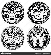 полинезия татуировки полинезийской татуировки маски векторное