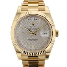 rolex day date 40mm silver dial yellow gold silver diagonal panal rolex 228238 blkpyr