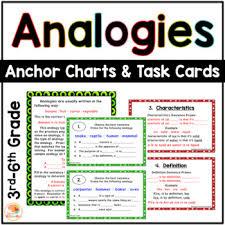 Types Of Analogies Chart Word Analogies Task Cards Worksheets Teachers Pay Teachers