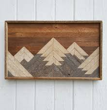 mosaic wall decor: past reclaimed wood wall art small mountain range lath art shabby chic wall decor geometric mosaic rustic design barn wood