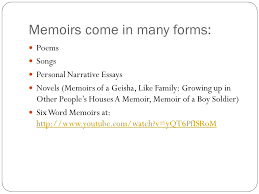 memoirs grade unit ppt video online  5 memoirs