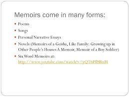 memoirs grade unit ppt video online  5 memoirs