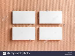 Blank Business Cards On Color Background Top View Stock Photo