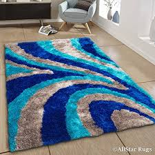 allstar 8 x 11 blue with grey modern thick high pile area rug 7 11 x 10 5