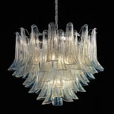 mildred murano glass chandelier 7 lights opal and chrome