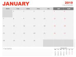January 2019 Calendar For Powerpoint Presentationgo Com