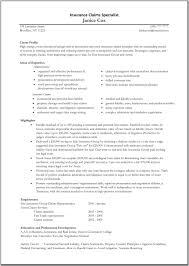 the best insurance specialist resume sample  recentresumescom