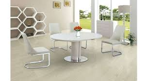 full size of hudson round white extending dining table with 6 bewley slate chairs and