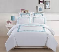 5 piece hotel collection 500 thread count cotton embroidered duvet cover set queen