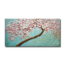pink knife flower painting large canvas art hand painted oil painting bedroom wall decor hang pictures no framed in painting calligraphy from home  on large wall art teal with pink knife flower painting large canvas art hand painted oil