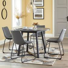 Shop for round dining sets in dining room sets. Signature Design By Ashley Centiar D372 16 4x08 5 Piece Round Dining Table Set With Gray Faux Leather Chairs Household Furniture Dining 5 Piece Sets
