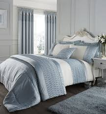 catherine lansfield quilted luxury satin duckegg stylish bedding