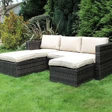 charles bentley garden l shaped rattan corner sofa set outdoor furniture dark brown beige robert dyas