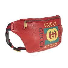 gucci print leather belt bag red