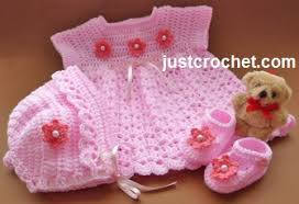 Free Baby Crochet Patterns Extraordinary Free Baby Crochet Pattern Dress Bonnet And Shoes Usa