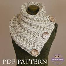 Knitted Scarf Patterns Using Bulky Yarn Classy Knitting Pattern THE LANCASTER SCARF Chunky Button Neckwarmer