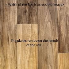 all our vinyl flooring pictures show the width of the roll as the left to right dimension of the main product image therefore all planks run down the