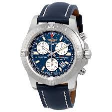 breitling watches jomashop breitling colt chronograph blue leather quartz ment watch