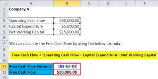 free cash flows example free cash flow formula calculator excel template