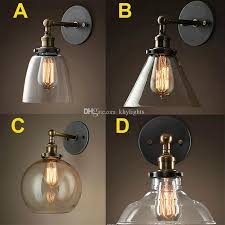 wholesale price loft vintage industrial edison wall lamps clear glass lampshade antique copper lights 110v 220v for bedroom