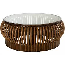 honey comb rattan coffee table with glass top diameter 45 inches