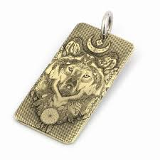 high detail deep engraved brass indian wolf dogtag biker pendant 9x031bc stainless steel necklace 24