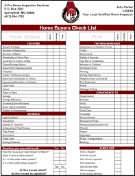 Sample Home Buying Checklist Home Inspection Checklist Free Excel Templates Home Buyer 24 S Home 10
