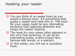 "the topic sentence ""the perfect killer"" the shark s jaw is  hooking your reader  you can think of an essay hook as you would a fishing"