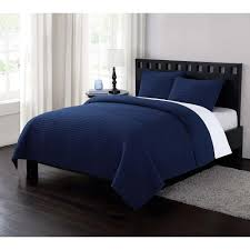 garment washed crinkle navy blue twin xl quilt set