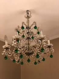 antique french brass chandelier green murano crystals macaroni beads 6 lights
