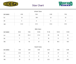 Keen Size Chart Youth 22 Prototypal Keen Kids Size Chart