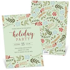 Festive Floral Holiday Party Invitation Pear Tree